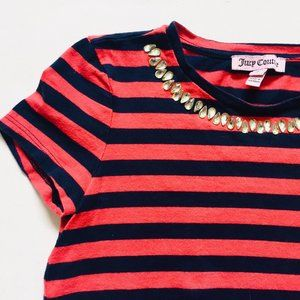 Juicy Couture Red&Navy Striped Jewelled Collar Tee